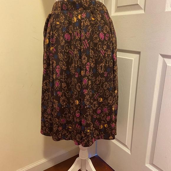 LuLaRoe - Large Madison Skirt Brown Mustard Print